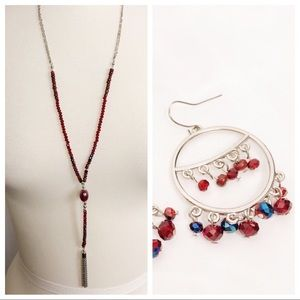 Jewelry - Silver and Red beaded Necklace and Earring Set